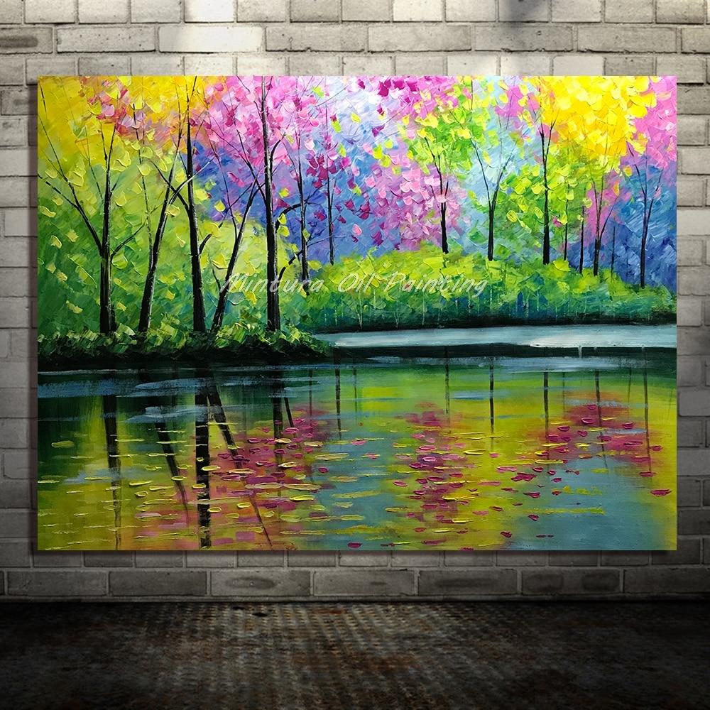 Большой расписанный вручную любовник дождь уличное дерево лампа пейзаж картина маслом на холсте настенные художественные настенные картины для гостиной домашний декор - Цвет: HY142218