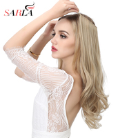 SARLA 20 Inch 50cm Wavy Hair Extensions Resist High Temperature Synthetic Fiber Halo Hair Pieces M01