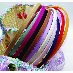Image 2 - 50 חתיכות משלוח חינם סיטונאי ריק מוצק צבעים בד מכוסה סרט מתכת 5mm שיער להקת שיער אביזרי DIY קרפט