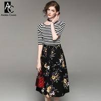 Primavera outono mulher roupa preta faixa branca padrão t-shirt meia manga flor amarela impressão comprimento bezerro saia preta equipamento bonito