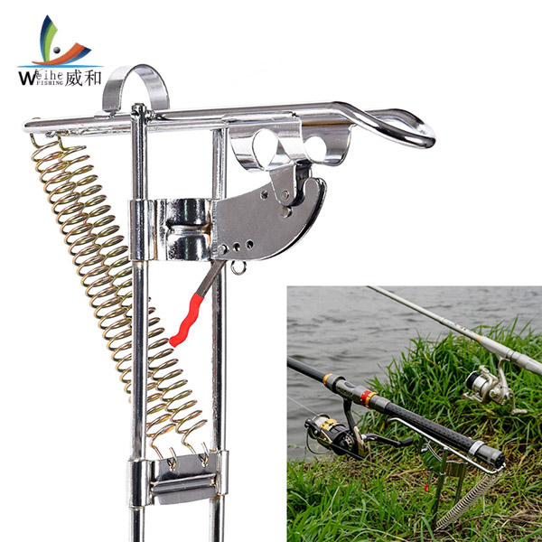 Automatic Double Spring Fish Rod Holder Anti-Rust Steel Fishing Pole Bracket Fishing Tackle ヘッドスパ 用 シャンプー 台