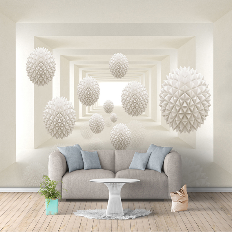 Custom 3D Photo Wallpaper Modern Simple Creative Designs Stereoscopic Space Round Ball Large Mural Wall Painting Art Wallpaper brooklyn black and white wallpaper mural photo wallpaper 3d mural large wall painting mural backdrop stereoscopic wallpaper