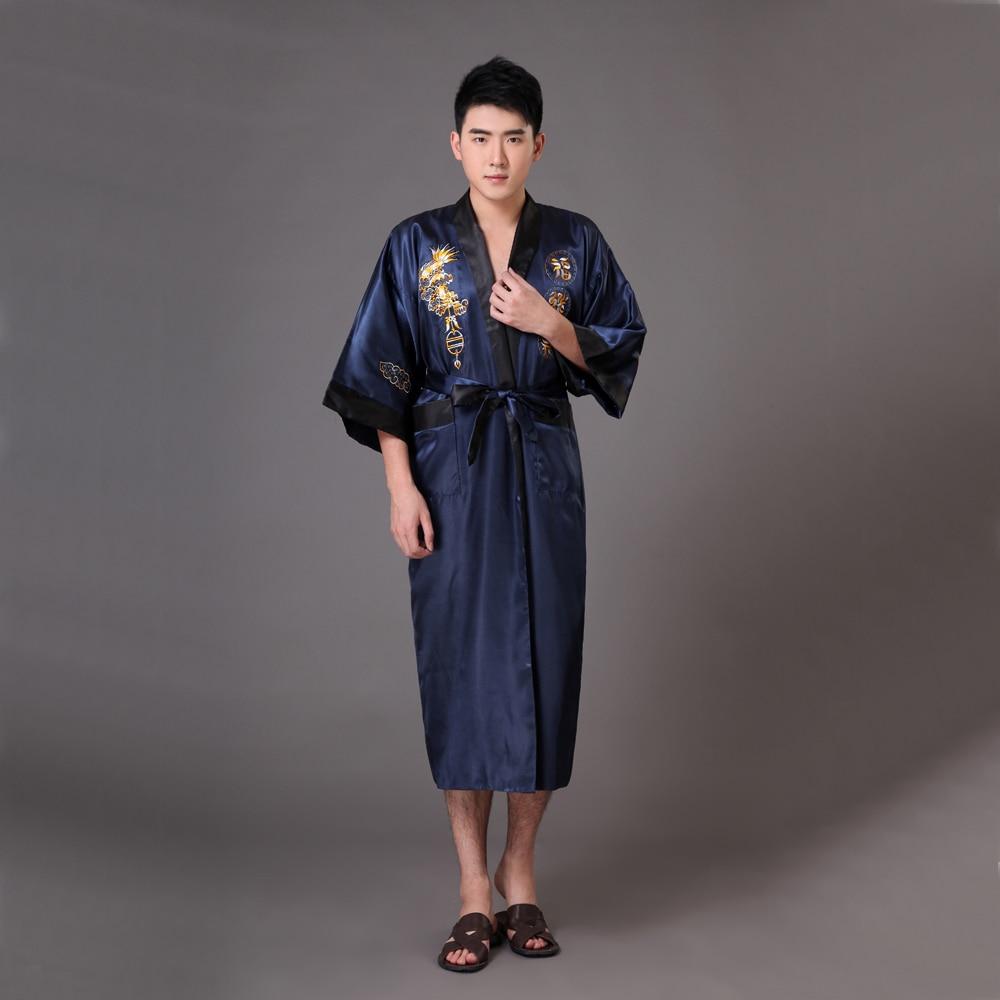 top fashion innovative design recognized brands US $24.0 35% OFF|Novelty Navy Blue Black Men's Reversible Kimono Bathrobe  Chinese Silk Satin Robe Gown Embroidery Dragon S M L XL XXL XXXL MR012-in  ...