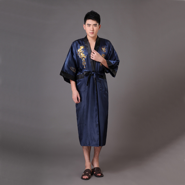 Novelty Navy Blue Black Men s Reversible Kimono Bathrobe Chinese Silk Satin  Robe Gown Embroidery Dragon S M L XL XXL XXXL MR012 ed2d7b2ed