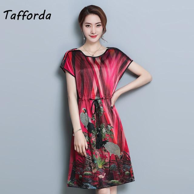 Tafforda New 2018 Summer Women s Silk Dress Loose Large Size Temperament  Printing Vintage Style Dress Sashes 38a35315e