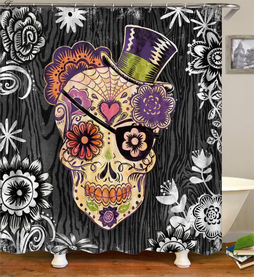Day Of The Dead Decorations Bath Curtain Sugar Skull Shower Curtains Bathroom Funny Waterproof In From Home