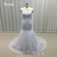 Real Photo 2017 Scoop Appliques Sequined White Mermaid Wedding Dresses Turkey Long Bridal Gown Vestido De