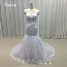 Real Photo 2017 Scoop Appliques Sequined White Mermaid Wedding Dresses Turkey Long Bridal Gown Vestido de Noiva Lace Back FW59