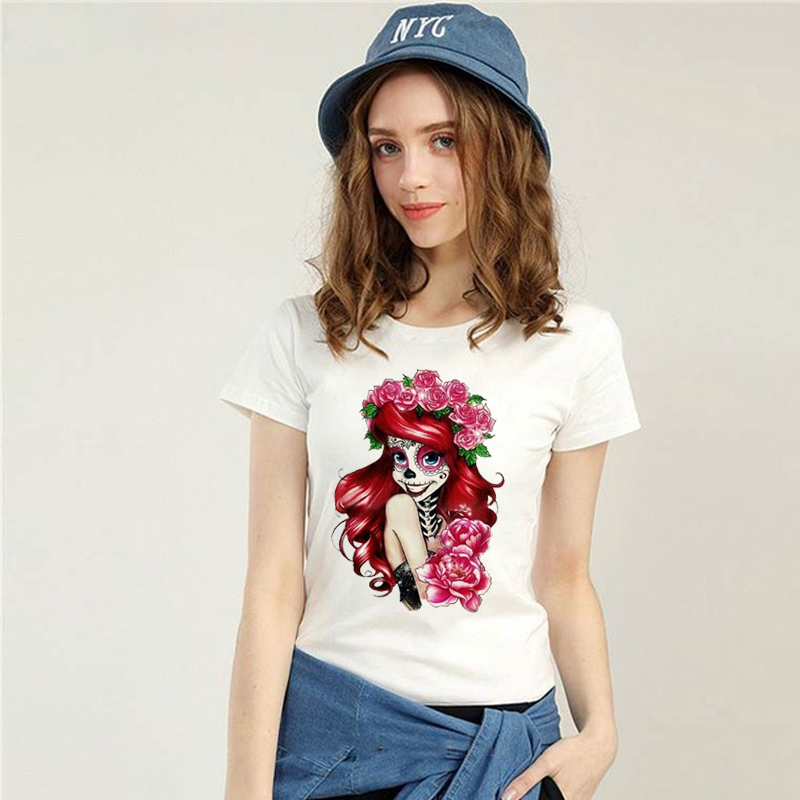 LUS LOS FLOWER WOMEN SKULL Summer New Product Women Fashion Printed Short Sleeve
