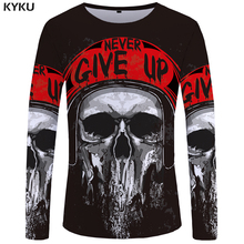 KYKU Brand Motorcycle Long sleeve T shirt Skull Clothes Skeleton shirts Punk 3d T-shirt  Clothing Tops Tees Women Print Woman