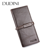 DUDINI Handmade Male Genuine Cowhide Leather High Quality Men Long Wallet Casual Coin Purse Vintage