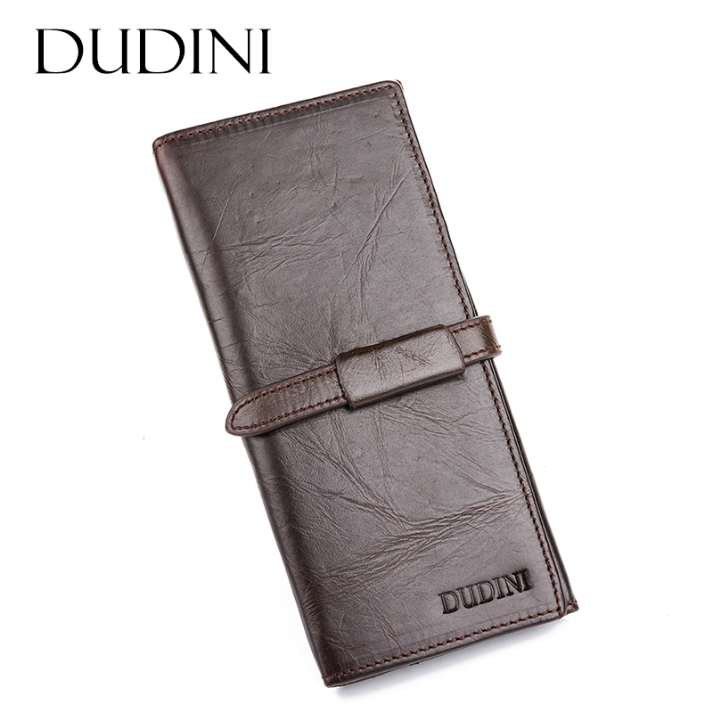 [DUDINI] Handmade Male Genuine Cowhide Leather High Quality Men Long Wallet Casual Coin Purse Vintage Designer Carteira Wallets