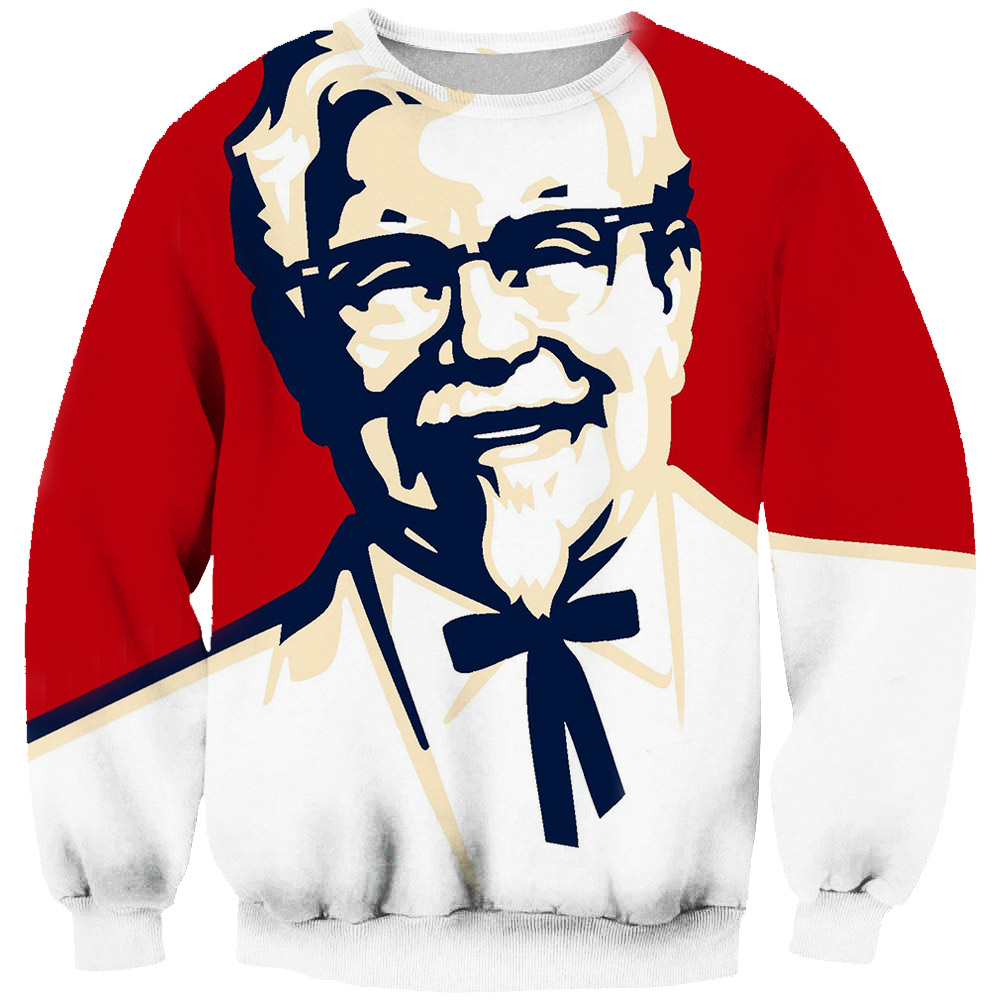 3D KFC Kentucky Sweatshirts Colonel-Printed Streetwear Long-Sleeves Harajuku-Style Tops