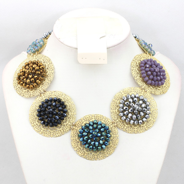 Latest Crystal Fashion African Jewelry Set Round Plate Beaded Necklace Earrings Set Free Shipping NCD098Latest Crystal Fashion African Jewelry Set Round Plate Beaded Necklace Earrings Set Free Shipping NCD098
