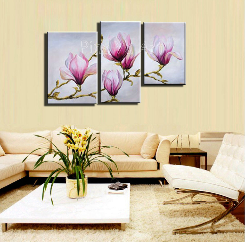 3 panel abstract modern canvas wall art pink floral decorative ...