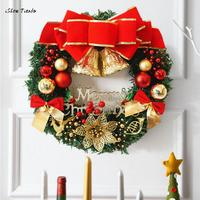 ISHOWTIENDA 1PC 30cm Christmas Large Wreath Door Wall Ornament Garland Decoration Red Bowknot