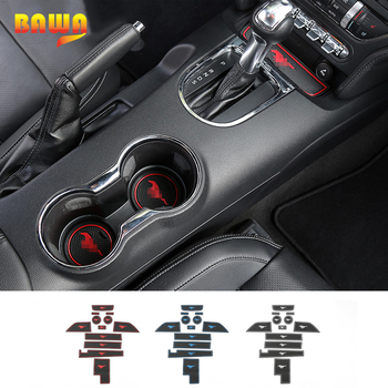 HANGUP 3 Color Rubber Car Gate Slot Pad Mat Cup Mat Interior Dcoration For Ford Mustang 2015 Up Car Styling