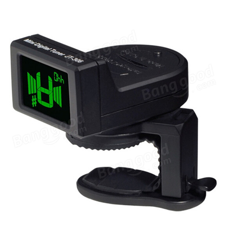 JOYO JT-306 Mini Digital Music LCD Clip-on Tuner for Acoustic Electric Guitar Bass Violin Chromatic+CR2032 battery joyo jmt 03 mini clip on digital guitar tuner
