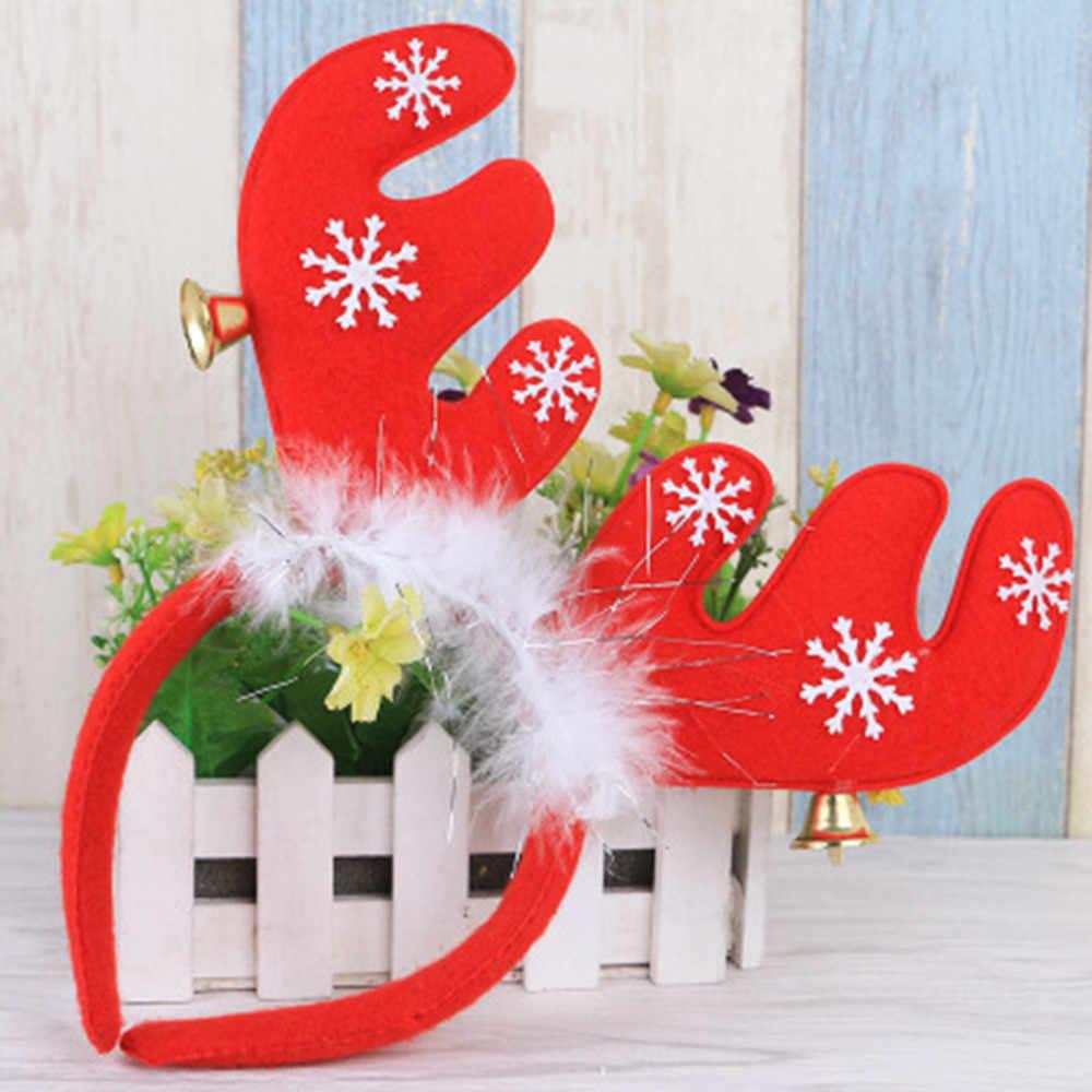 Navidad un par simulación gorras de astas diadema flocado Artificial Sika ciervos astas decoraciones de Navidad suministros @ 3