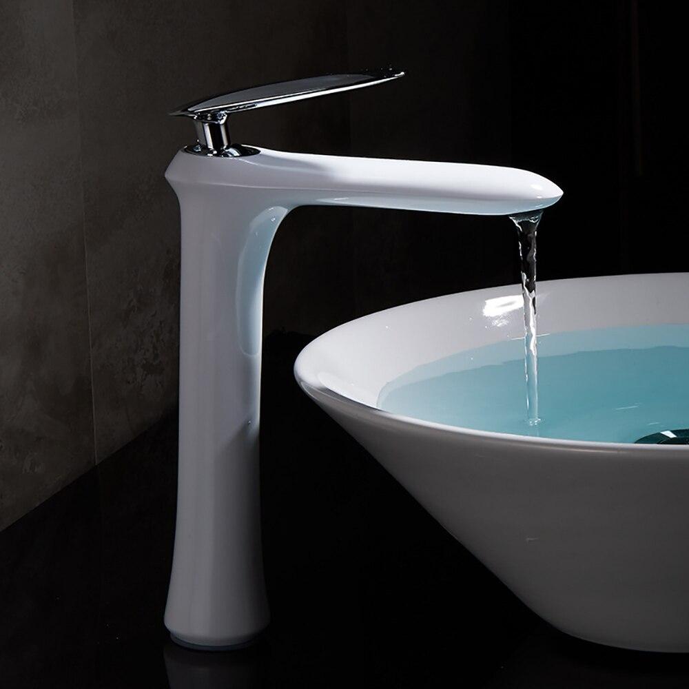 Orenbo Modern Bathroom Faucet Grilled White Paint Brass Basin Sink ...