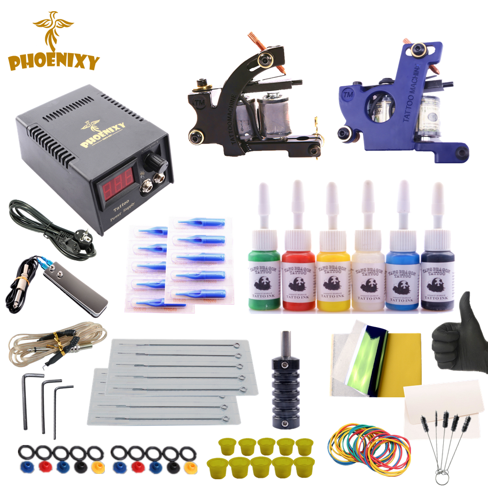 цены Tattoo Kit Professional Complete Tattoo Kit 2 Machine Guns Inks Needles Tattoo Power Supply 6 Colors Ink Set Tattoo Machine Set
