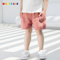 WOTTAGGA 2019 Summer Thin Children Wear Shorts Boy Baby and Girl Pants Solid Color Cotton Children's Leisure Pants