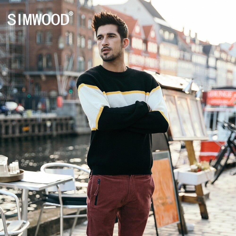 SIMWOOD 2018 новый шерстяной свитер Для мужчин модные трикотажные пуловеры Для мужчин контраст Цвет Sueter Hombre брендовая одежда Высокое качество ...