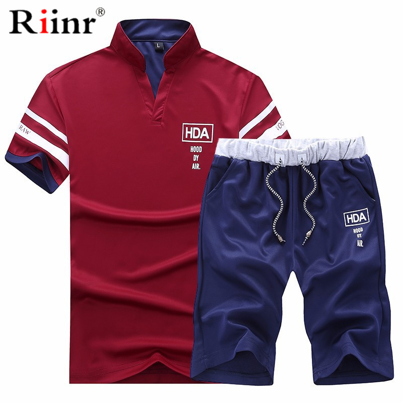 Riinr Fashion Tracksuit Men Set Summer Short Sleeve Casaul Slim Fit Sporting Suit Mens Masculino T Shirt+Shorts 2 Pieces Sets