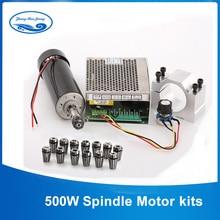 CNC шпиндель 500 Вт с воздушным охлаждением ER11 патрон CNC 0.5квт фрезерный мотор и шпиндель Преобразователь мощности и 52 мм зажим