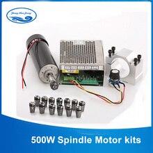CNC Spindel 500W Luftgekühlten ER11 Chuck CNC 0,5 KW Fräsen Motor & Spindel Geschwindigkeit Power Converter & 52mm Clamp