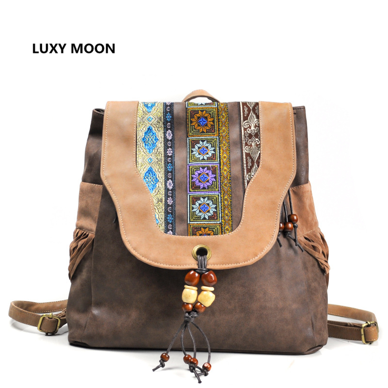 Vintage Design PU Leather Tassel Backpacks Girls Ethnic Floral Print Mini anti theft Bagpack Women Travel Rucksack Boho Bag A27 stylish men s athletic shoes with floral print and pu leather design design