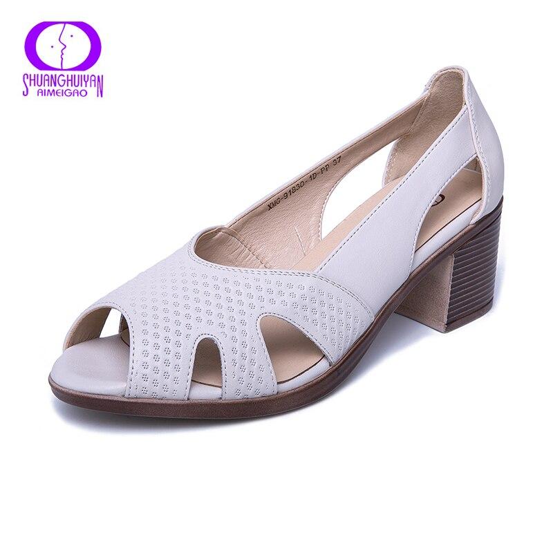 Aimeigao Neue Sommer Peep Toe Sandalen Komfortable Starke Absatz Sandalen Weiche Leder Schuhe Für Frauen Große Größe Sommer Schuhe Einfach Zu Schmieren