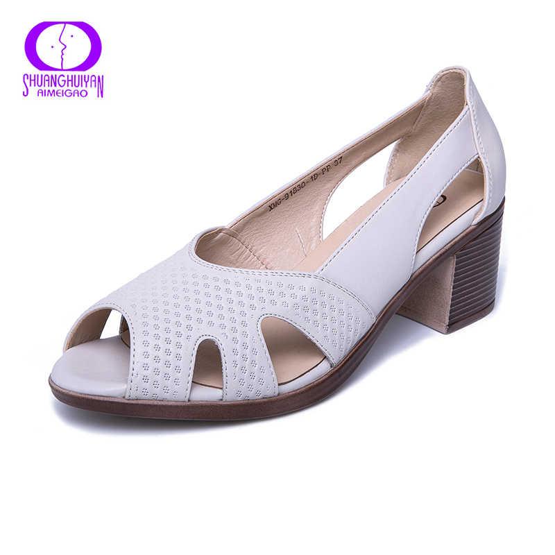AIMEIGAO Neue Sommer Peep Toe Sandalen Komfortable Starke Absatz Sandalen Weiche Leder Schuhe für Frauen Große Größe Sommer Schuhe