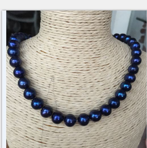 elegant AAA++10mm tahitian black blue pearl necklace цена и фото