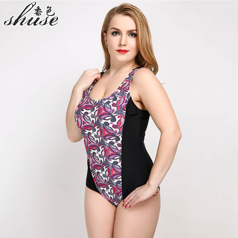 SHUSE Plus Size Swimwear Print Solid One Piece Swimsuit Women Sexy Backless Bodysuit Large Monokini Beach Bating Suit 2017 Hot