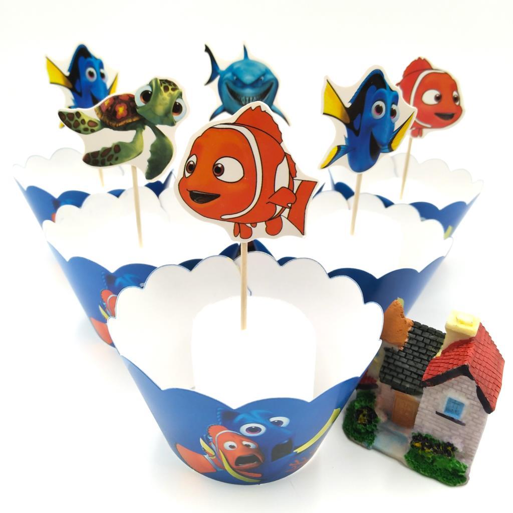 24pcs Cartoon Finding Nemo Series Cupcake Topper Pick Baby