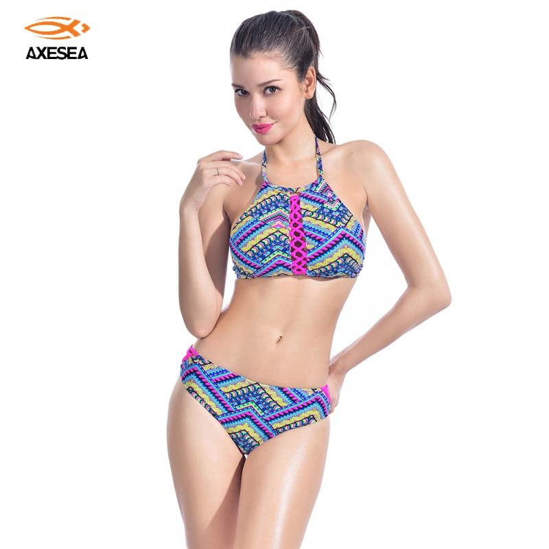 Neue frauen low taille bikinis set ethnische muster reizvollen dünnen zweiteilige badeanzug...