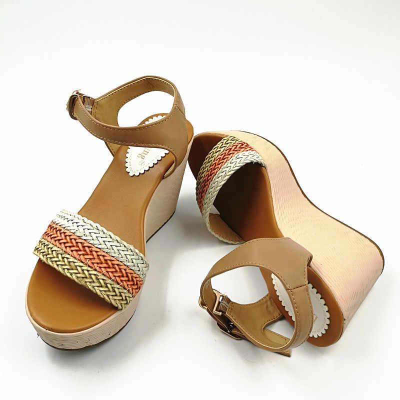 ผู้หญิงฤดูร้อน Wedges รองเท้าแตะรองเท้าส้นรองเท้าข้อเท้ารองเท้าแตะ Sy-894