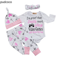 Cute Baby Girl Outfits Clothes Newborn Baby Girls Letter Rompers+Long Pants+Hats+Headband 4pcs Children Clothing Set Autumn