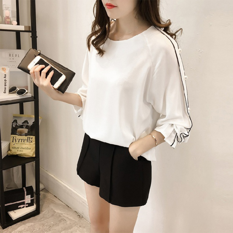 Flare Full Sleeve Rivet Top Tees Shirts Blouse