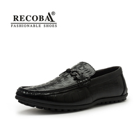 Mens Smart Casual Leather Black Brown Print Leather Penny Loafers Flat Moccasins Slip Ons Driving Shoes