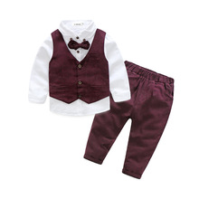 Gentleman Spring Boy's clothing Sets  Kids Suit Children's Clothes Sets Outfits baby boy 3pcs long sleeve Tie shirt+Vest+Pants