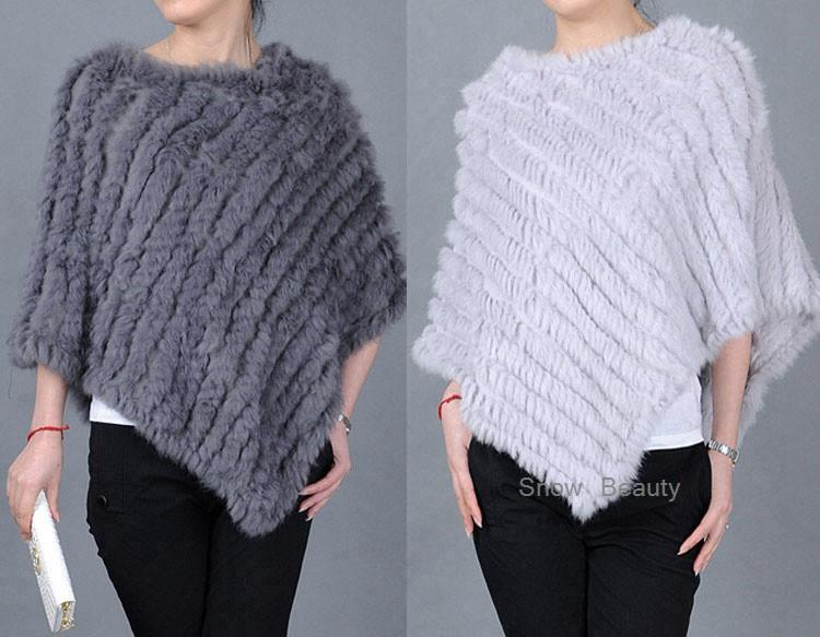 natural real knitted rabbit fur poncho shawl (34)
