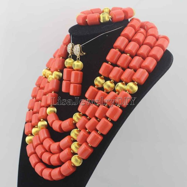 Fashionable African Beads Jewelry Sets Coral Beads Jewelry Set Nigerian Wedding Bridal Coral Necklace Jewelry Set HD6339