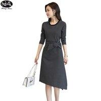 Sonbahar Kadın Elbise 2017 Yeni Bayanlar O-Boyun Çizgili Uzun kollu Yaylar Dantel Ofis Kılıf Zarif Drsses Seksi Vestidos