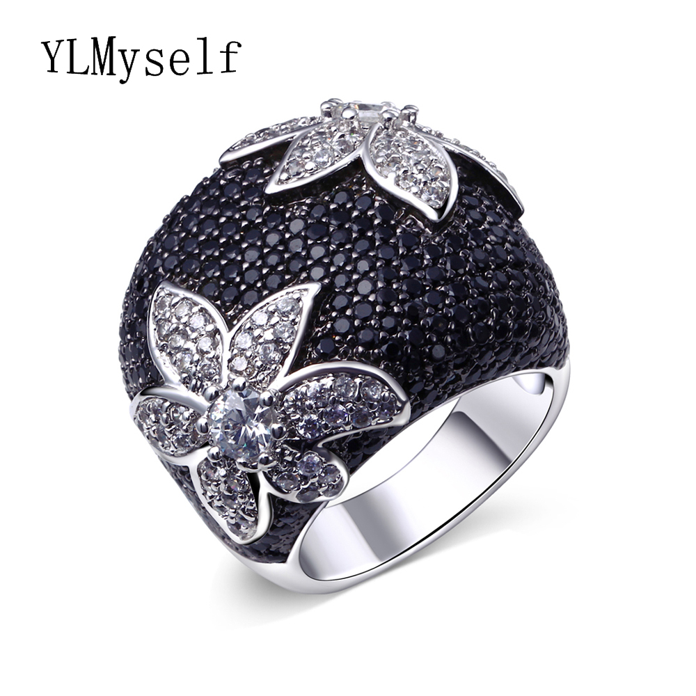 Black flower ring setting full black CZ birthday party jewelry White gold/Gold color Large Jet and white Sparkly Zirconia Ring black white gold 100