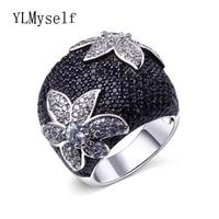 Czarny kwiat pierścień ustawianie pełna czarny CZ birthday party biżuteria White gold/Złoty kolor Duża Jet i biały Świecący Pierścień cyrkonu