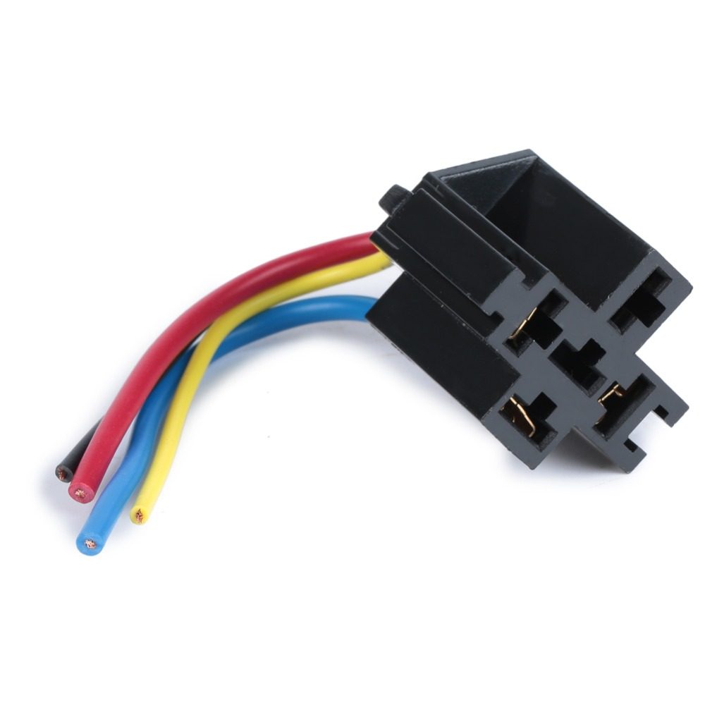5 pcs car relay socket 12v 30a 40a 4 prong 4 wire relay harness socket 4 pin kit for electric fan fuel pump light universal diy in car switches relays  [ 1000 x 1000 Pixel ]
