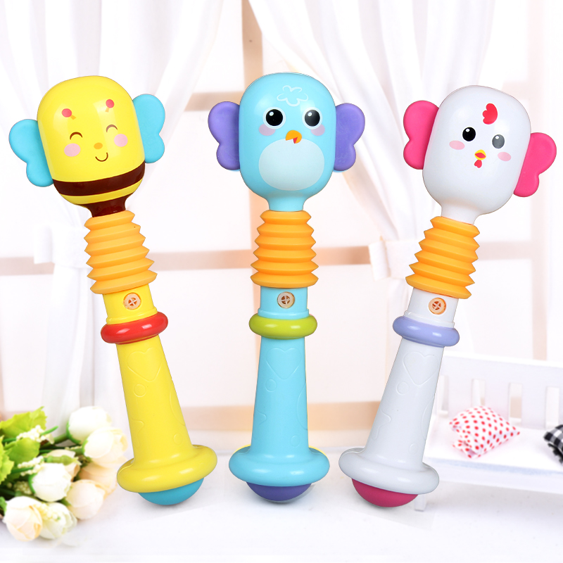 Plastic Hand Bells for Baby Rattle Mobiles Animals Infant Baby Hand Rattles Kids Grasping Toys With Music Sound YLT43