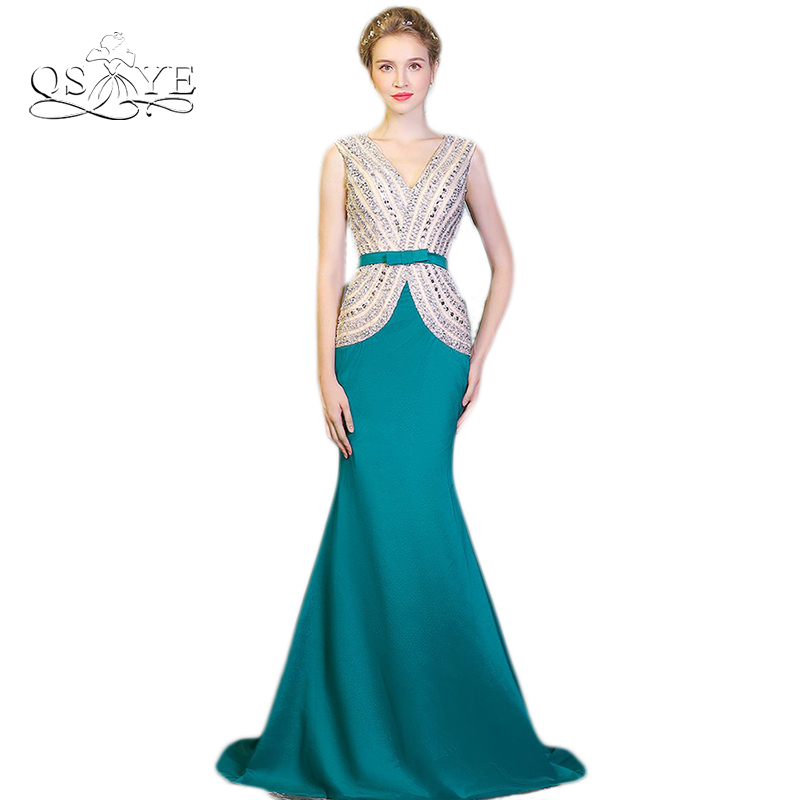Real Photo 2017 Robe de Soiree Long Mermaid   Prom     Dresses   Sexy Crystal Beaded Top V Neck Sweep Train Formal Evening Gowns